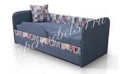 Кровать Иви, Class синий/принт алфавит