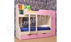 Двухъярусная кровать Башмачок Дуб молочный/Розовый