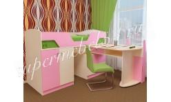 Детская кровать Лимбо Дуб молочный/Розовый