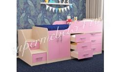 Детская кровать Малыш Дуб молочный/Розовый