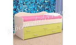 Детская кровать двухместная Нимфа дуб молочный/лайм