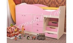 Детская кровать Стрелка Дуб молочный/Розовый