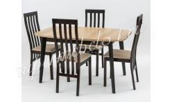Стол Глобус (раздвижной) ЛДСП дуб небраска/эмаль темно-коричневая