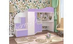 Кровать-чердак Кадет 1 Белое дерево/Ирис