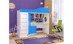 Кровать-чердак Кадет 1 (с лестницей) Белое дерево/Голубой