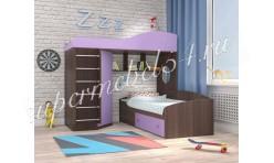 Кровать-чердак Кадет 2 (с металлической лестницей) Бодего/Ирис