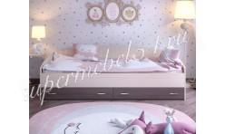 Кровать c выкатными ящиками Дуб молочный/Бодего