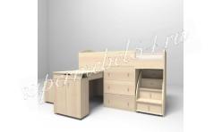Кровать-чердак Малыш 1800 Дуб молочный/Дуб молочный