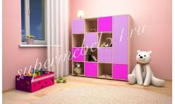 Стеллаж Джери 2 Дуб молочный/Ирис/Розовый