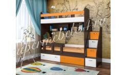 Двухъярусная кровать Юниор 1 Бодего/Оранжевый/Белое дерево